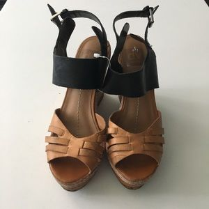 "DV Dolce Vita Leather Ankle Strap 4"" Wedges Sandal"